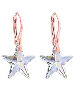 18K Rose Over Gold Sterling Silver Aurore Boreale Star Crystal Earrings