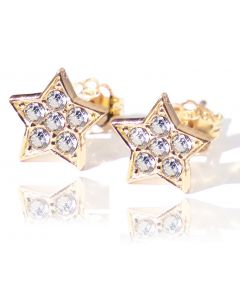 Ah! Jewellery 24K Gold Over Sterling Silver Crystals From Star Studs