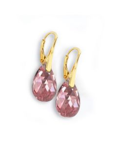 18K Yellow Gold Vermeil Sterling Silver Antique Pink Pear Earrings