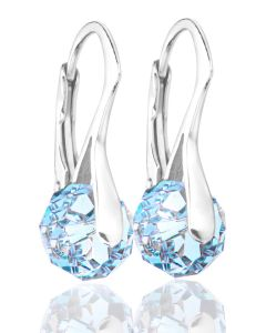 Ah! Jewellery® Aquamarine 8mm Crystals From Swarovski Sterling Silver Earrings, Stamped 925. 2.6GR Total Weight.