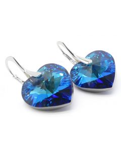 GIFT BOXED! Ah! Jewellery® Luxurious Hand Crafted Enchanting 14mm Bermuda Blue Heart Genuine Crystals From Swarovski, Sterling Silver Earrings. Exceptional Must Have! Stamped 925.