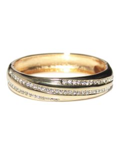 Gold Electroplated With LAB Created Diamonds Open Bangle