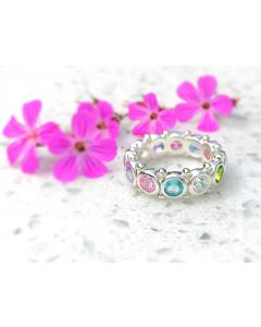 Multicoloured Sterling Silver Rainbow Themed Eternity Ring