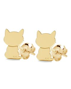 Gold Over Sterling Silver 8mm Cat Studs