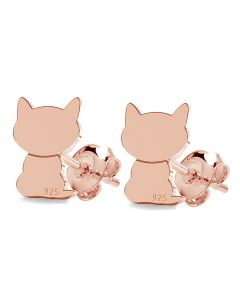 Rose Gold Over Sterling Silver 8mm Cat Studs