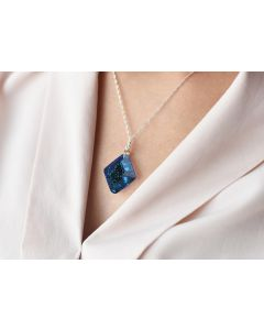 Ah! Jewellery® Bermuda Blue Rhombus Necklace, Stamped 925