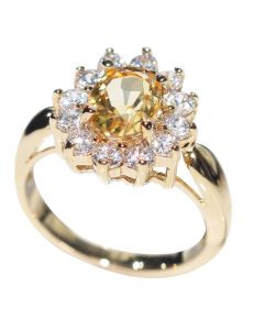Ah! Jewellery Genuine Precious 1.45ct CITRINE Solitaire Setting Ring. Gold Filled UK Guarantee 3µ. Stamped GL. Brilliant Little Rounds Surrounding.  Jewellery to Treasure.
