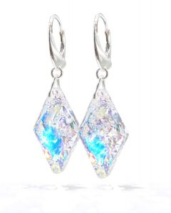 Ah! Jewellery 19mm Crystals From Swarovski® Closed Rhombus Earrings, Sterling Silver