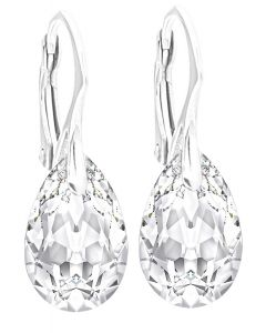 Ah! Jewellery® Women's 16mm Moonlight Pear Crystals From Swarovski® Earrings. Finished in Highly Polished Sterling Silver, Stamped 925. 3gr Total Weight.
