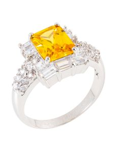 Golden Yellow Ring Accented With 10 Swarovski 8mm Baguette Crystal