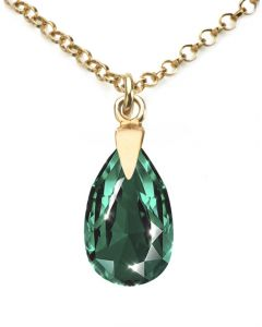 Ah! Jewellery® 18K Gold Vermeil Over Sterling Silver Emerald Pear Necklace With Crystals from Swarovski®