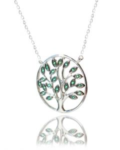 Emerald & Clear Crystal Sterling Silver Tree Of Life Necklace