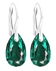 GIFT BOXED! Ah! Jewellery Women's 16mm Emerald Pear Crystals From Swarovski Earrings. Genuine Highly Polised Sterling Silver. Stamped 925. 3gr Total Weight.