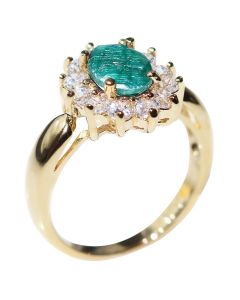 Ah! Jewellery® 1.45ct Genuine PRECIOUS EMERALD Ring. Brilliant Round Simulated Diamonds Surrounding. Gold Filled UK Guarantee 3µ. 3.6gr.