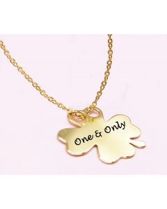 Ah! Jewellery® Clover Engraved 24k Gold Over Silver Necklace.