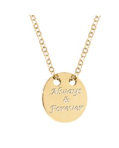 Ah! Jewellery® Sterling Silver 24k Gold Engraved Circle Necklace.