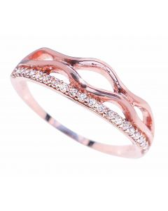 Ah! Jewellery® Women's Rose Gold Sterling Silver Tiara Ring Lined With Swarovski Crystals, Stamped 925.