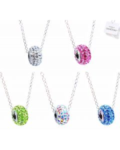 Ah! Jewellery® Genuine Pavé Crystals from Swarovski® 15mm Crystal Bead Necklace, Stamped 925.