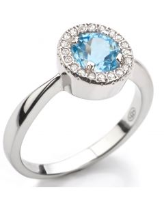 Ah! Jewellery® Sterling Silver GENUINE 1.45ct Sky Blue TOPAZ Halo Ring. Gemstone Surrounded by Small Brilliant Rounds. Stamped 925.