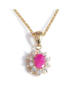 24K Gold Over Sterling Silver Genuine Ruby Surrounded By LAB Created Diamonds Necklace