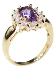 Ah! Jewellery® Gold Filled Genuine Amethyst Oval Ring, Stamped GL