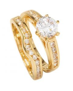 Ah! Jewellery Ladies 18kt Genuine Gold Filled Simulated Diamonds Ring & Channel Eternity Band. Engagement Wedding Set. UK Guarantee: 3µ