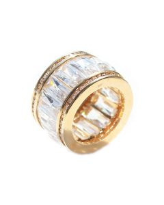 18K Gold Filled Wide Cut Ring With LAB Created Diamonds