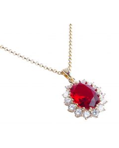 AH! JEWELLERY® 18KT GENUINE GOLD FILLED NECKLACE, SET WITH A RUBY RED SIMULATED DIAMOND CENTRE STONE.