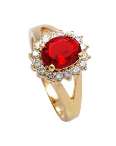 Ah! Jewellery® 18kt Genuine Gold Filled, UK Guarantee Ring, Set With A Ruby Red Simulated Diamond Centre Stone.