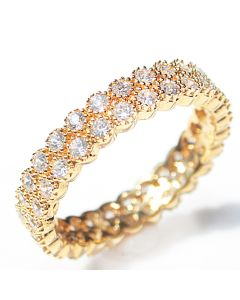 18K Gold Filled Micro Paved Fringed Ring