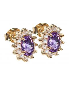 Ah! Jewellery Ladies Genuine 1.45ct AMETHYST Studs. Excellent Little Rounds Surrounding. Gold Filled UK Guarantee 3µ. Stamped GL