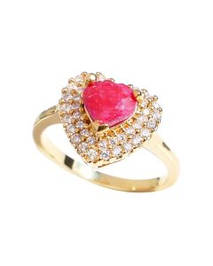 Gold Filled Genuine Ruby Heart Centre Stone Ring