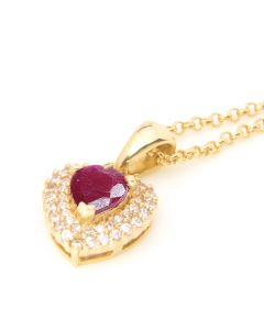 Genuine Ruby Gold Filled Heart Pendent Necklace