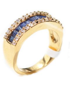 Gold Filled Genuine Sapphire Bar Setting Ring