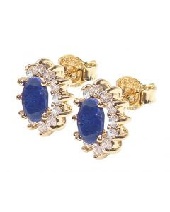 Ah! Jewellery Ladies Gold Filled Genuine Precious SAPPHIRE 1.45ct Stud Earrings. Brilliant Rounds Surrounding Oval Gemstone. UK Guarantee 3µ. Stamped GL.