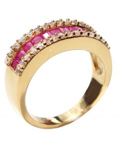 Ah! Jewellery Gold Filled Princess Cut Bar Setting Ring with 11 Precious 1.45ct RUBY Gemstones Surrounded By Brilliant Clear Rounds. UK Guarantee 3µ. Stamped GL.