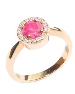 Gold Filled Genuine Ruby Halo Ring