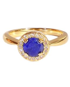 Gold Filled Genuine Sapphire Halo Ring
