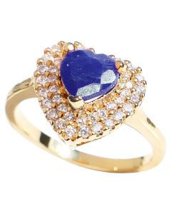 Ah! Jewellery® Genuine Precious 1.25CT SAPPHIRE Heart Gemstone Engagement Ring. Brilliant Pave Rounds Surrounding. Gold Filled, UK Guarantee 3µ. Stamped GL.