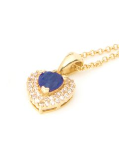 Genuine Sapphire Gold Filled Heart Pendent Necklace