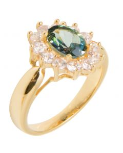 Ah! Jewellery Ladies Stunning 8mm x 6mm GENUINE PRECIOUS 1.45CT Rainforest Topaz Stone, UK Guarantee: 3µ. Gold Filled Ring Surrounded By Brilliant Rounds. 3.6GR.