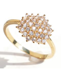 18K Genuine Gold Filled Cluster Ring With Simulated Diamonds