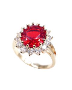 18KT Genuine Gold Filled Ruby Red Diamond Centre Ring