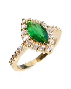 18KT Genuine Gold Filled Emerald Marquise Cut Ring
