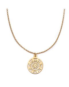 24K Gold Vermeil Over Sterling Silver Open Work Circle Necklace