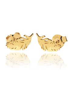 Gold Over Sterling Silver Feather Stud Earrings
