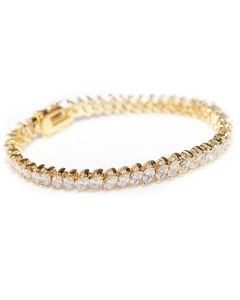 24K Gold Electroplated Marquise Cut Bracelet AAA Top Grade Cubic Zirconium Crystals