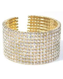 Gold Electroplated Ten Row LAB Created Diamonds Open Bangle