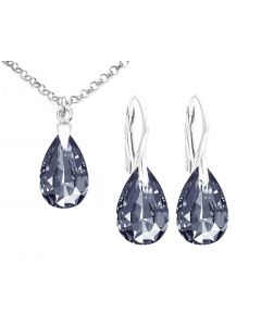 Ah! Jewellery® 16mm Graphite Pear Crystals From Swarovski® Sterling Silver Set, Stamped 925.
