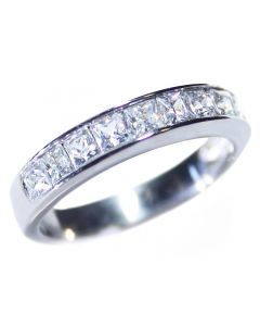 Ah! Jewellery® Stainless Steel Simulated Diamond Half Eternity Band